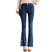 Spring Autumn Women High Waist Skinny Floral Embroidery Jeans Woman Casual Blue Denim Pants Trousers Female Jeans Flare Pants new 2017 summer women skinny elastic jeans high waist stretching flare pants women s jeans blue trousers female casual jeans