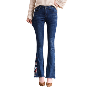 Spring Autumn Women High Waist Skinny Floral Embroidery Jeans Woman Casual Blue Denim Pants Trousers Female Jeans Flare Pants brand new arrival high quality female jeans casual high waist women jeans skinny denim pants black blue trousers plus size s 6xl