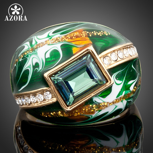 AZORA Gold Plated <font><b>Green</b></font> Rectangle Stellux Austrian Crystal Oil Painting Pattern Ring TR0024