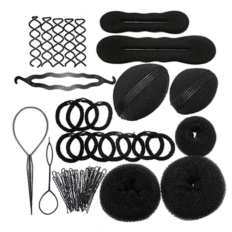 Brand NEW 8 In 1 Pro Hair Bun Clip Ponytail Maker Pads Hairpins Roller Braid Tool Kit Twist Sponge Styling Accessories Tools