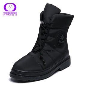 AIMEIGAO/высококачественные теплые зимние женские ботинки на меху; водонепроницаемые ботинки с плюшевой подкладкой; женская обувь на платформ...