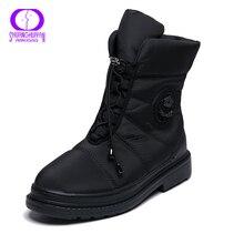 AIMEIGAO, botas de invierno de piel cálida de alta calidad para mujer, plantilla de felpa, botas impermeables, tacones de plataforma, zapatos de mujer rojos y negros