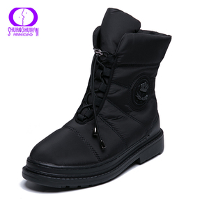 Image 1 - Aimeigao 고품질 따뜻한 모피 눈 겨울 여성 부츠 플러시 깔창 방수 부츠 플랫폼 발 뒤꿈치 레드 블랙 여성 신발