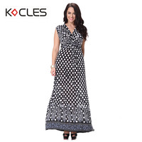 Plus Size 6 7XL Women Summer Bohemian Sexy Elegant Maxi Pinup Tunic Belted Flower Print V