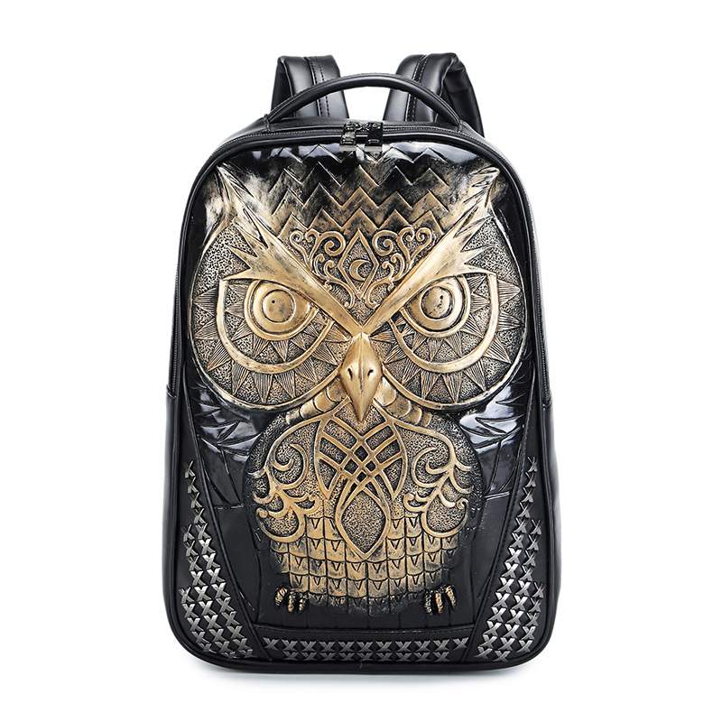 Fashion Women Backpack Men's Backpacks 2018 Cool Gold Graphic Embossed Leather 3D Owl Backpack Female Shoulder Bag School Bags