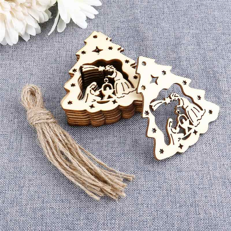 10pcs Wooden Christmas Jesus Pendant With Hemp Ropes Christmas Tree Hanging Embellishments For Party Home Decoration