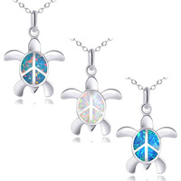 KELITCH Peace Sea Turtle Choker Necklaces Longevity Created Opal Pendant Necklaces Birthstone Jewelry