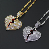 2019 Fashion Broken Heart Iced Out Chain Pendant Necklace Statement Gold Color Cubic Zircon Necklace Hip Hop Men's Jewelry Z4