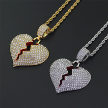 2019 Fashion Broken Heart Iced Out Chain Pendant Necklace Statement Gold Color Cubic Zircon Necklace Hip Hop Men's Jewelry Z4