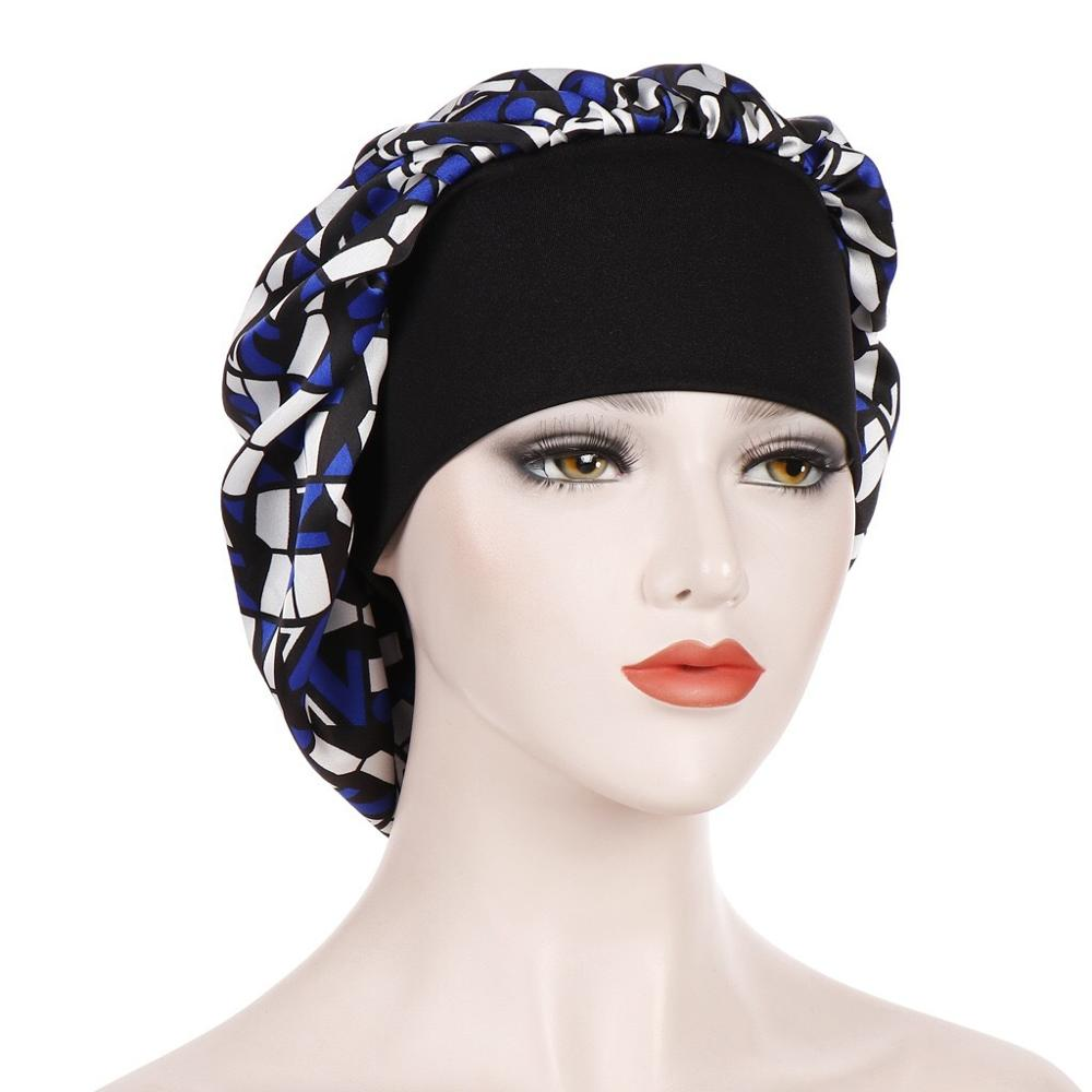 Satin Beanie Women Hair Care Night Sleep Hats Satin Flower Bonnet Cap Geometry Silk Caps Head Wrap Ladies Skullies Fashion