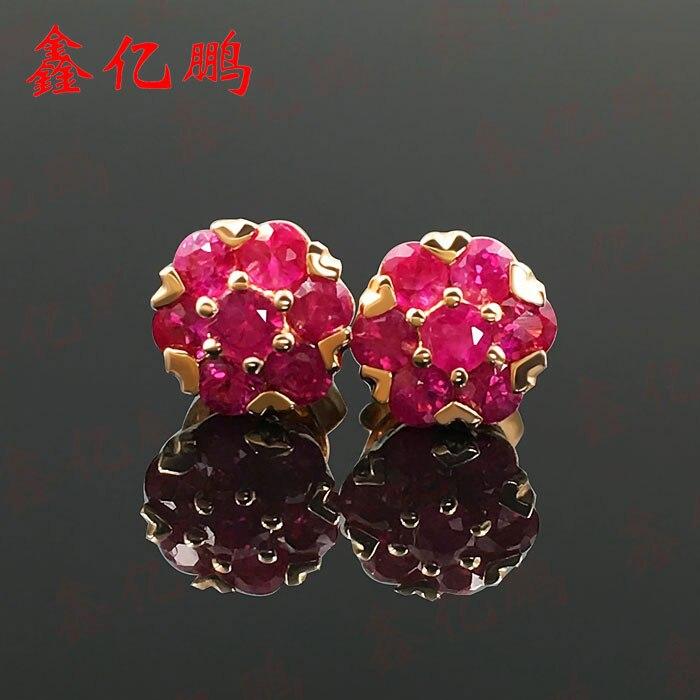 18 k Jin Tianran ruby stud earrings earrings female 0.6 carats