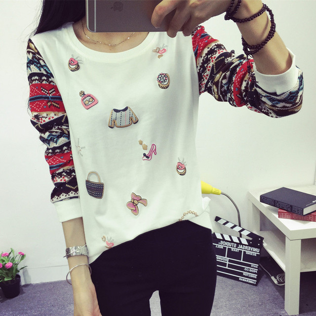 2015 fashion women long sleeve tops tees cool casual girl sweater teenager  girl hoodies t shirt
