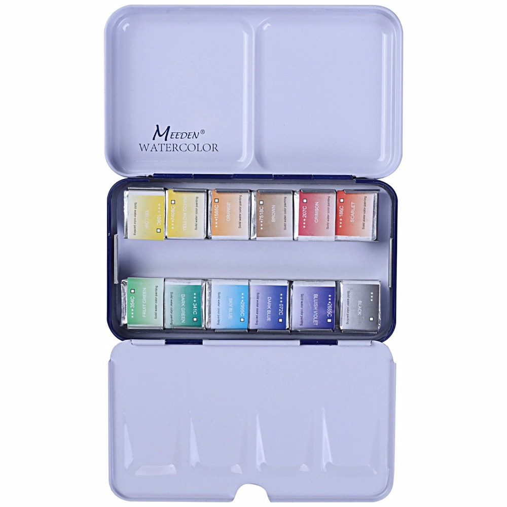 MEEDEN 12/24/48Colors Blue Watercolor box with Water brush Solid Bright Colors Portable Watercolor Pigment Set Art Supplies van gogh 24 colors solid watercolor pigment with nature sponge and paintbrush plastic case water color paint art supplies