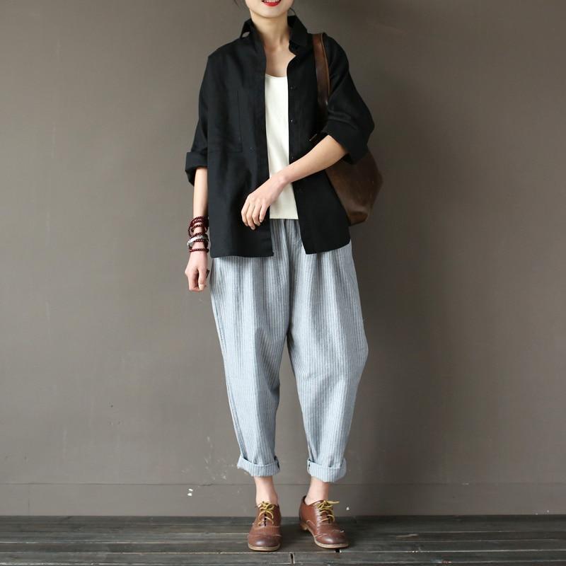 longueur Tafiy Casual Coton Lâche 2018 Femmes Vintage Rayé Harem Taille Striped Pantalon Plein Pour light Grey Élastique Blue Striped Lin 6gxC6q
