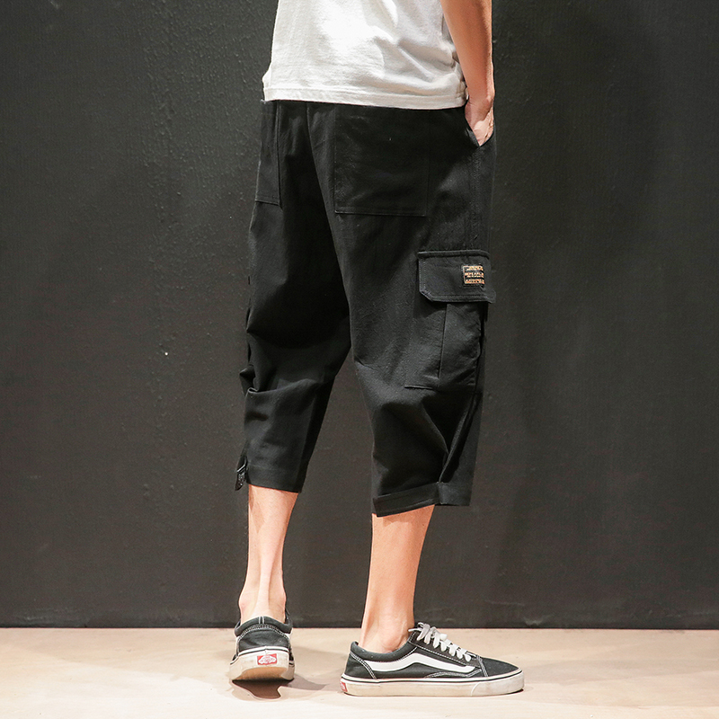 Safari Style Calf Length Pants Multi Pockets Solid Color Men 39 s Pants Elastic Waist Large Size Calf Length Pants in Harem Pants from Men 39 s Clothing