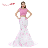 NIXUANYUAN 2018 New Custom Made Two Pieces Prom Dress 2017 Elegant Appliques Mermaid Party Dress O
