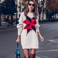 Oversized Sweater Women 2018 Winter HOllow Out Cotton Knitted Loose Long Sweaters Red Stars Pullover Christmas Jumper Streetwear
