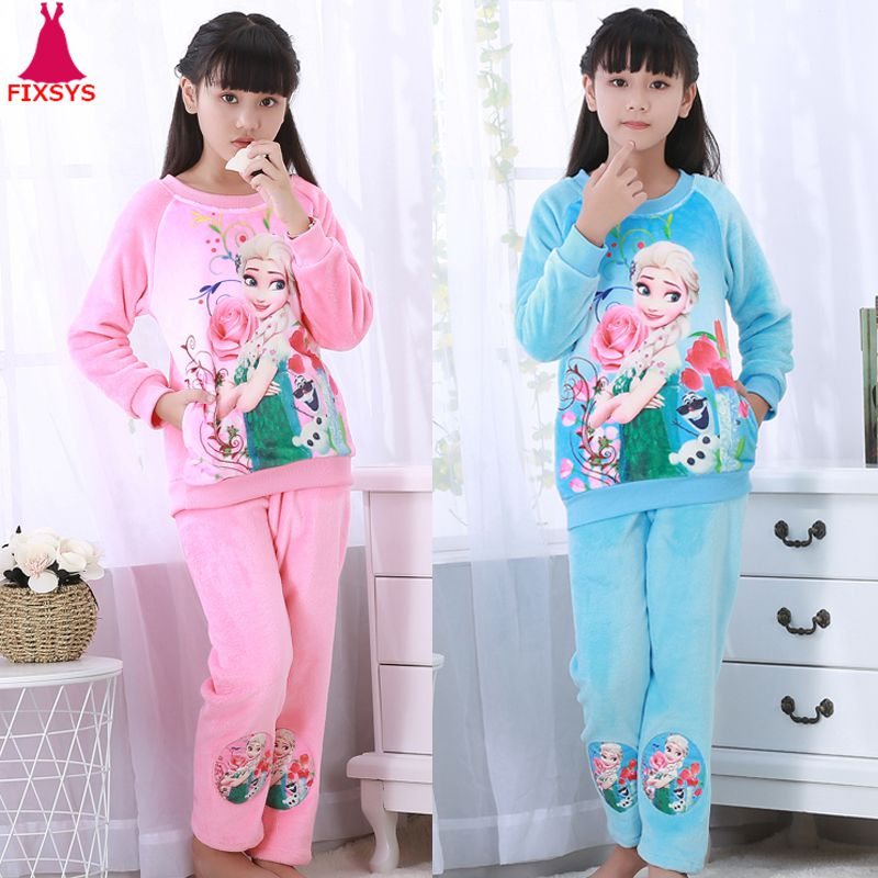 Hot Winter Children Fleece Girls Pajamas Warm Flannel Sleepwear Loungewear Coral Fleece Kids Pijamas Elsa Pyjama Set Homewear