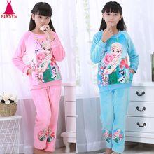 d68b6ed0dd Hot Winter Children Fleece Girls Pajamas Warm Flannel Sleepwear Loungewear  Coral Fleece Kids Pijamas Elsa Pyjama