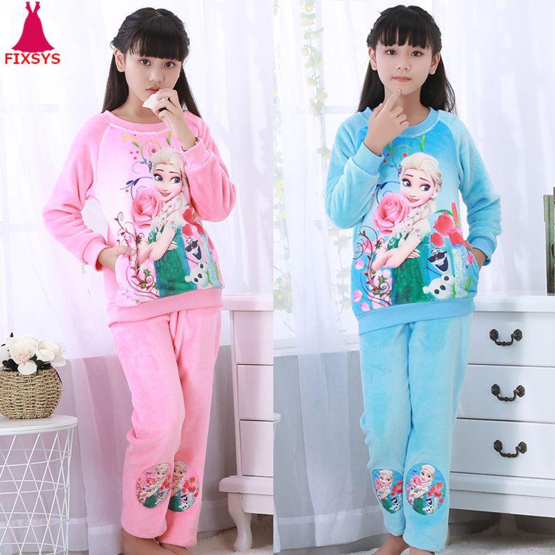Hot Winter Kinderen Fleece Meisjes Pyjama Warm Flanel Nachtkleding Loungewear Coral Fleece Kids Pijamas Elsa Pyjama Set Homewear