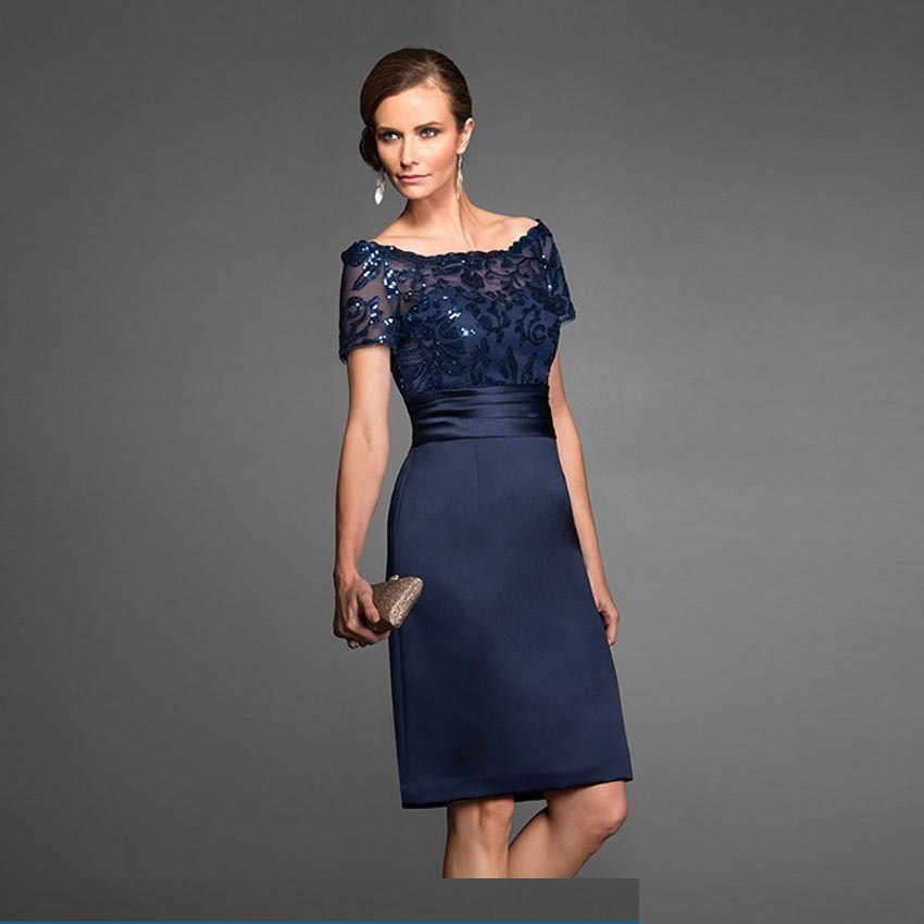 Navy blue plus size mother of the bride dresses knee for Navy plus size dress for wedding