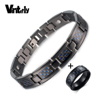 Vinterly Black Stainless steel Jewelry Sets Men Carbon Fiber Bracelet Ring for Men Women Chain Magnetic Bio Jewelry Sets & More