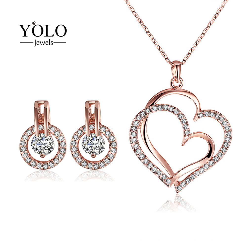 YOLO Jewels Jewelry Set for Women Rose Gold Color Rhinestone LOVE Heart Shape Necklace Elegant AAA Cubic Zirconia Earrings graceful solid color letters love shape necklace for women