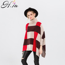 H.SA 2017 Autumn Women Pull Sweater Turkleneck Sweater Jumpers Fashion Plaid Oversized Poncho Sweaters Knitting Poncho Jumpers(China)