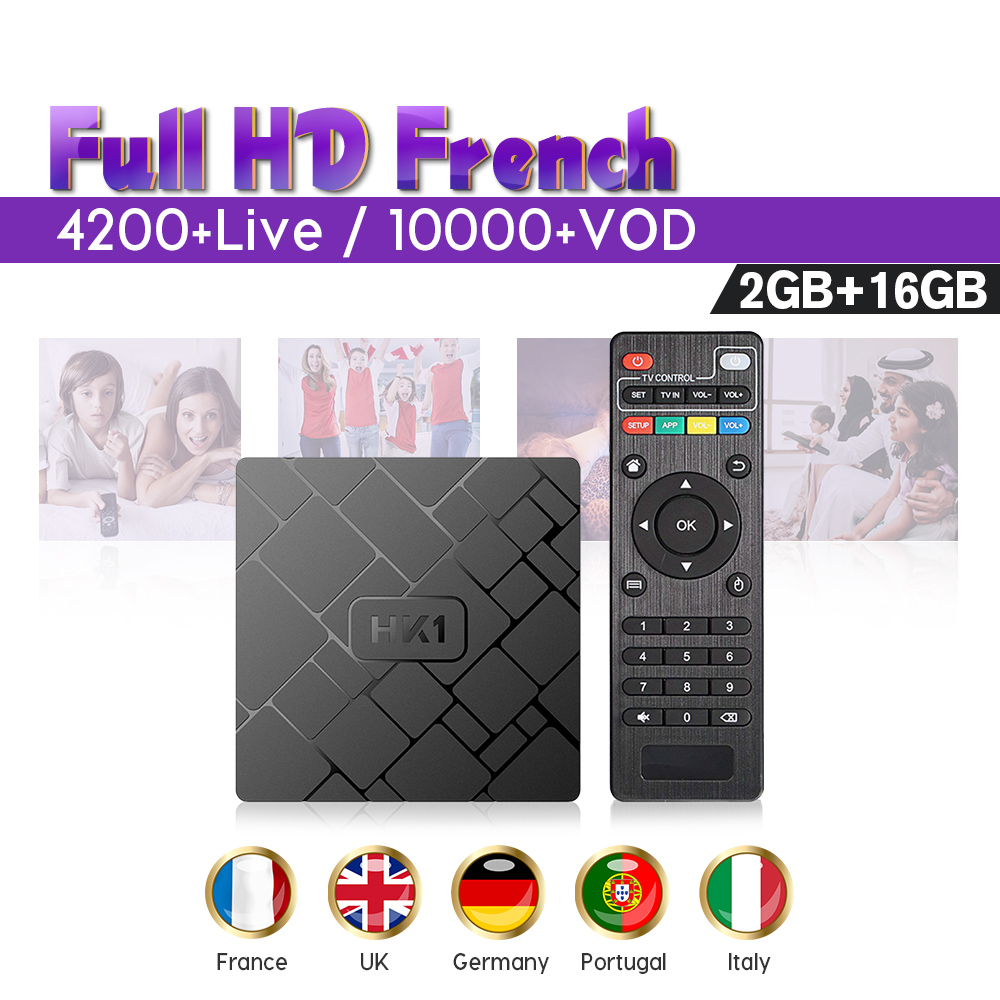 Spain IPTV Europe HK1W Android 7.1 French smart IPTV Subscription Box SUBTV Code 1 Year 2G 16G IPTV Belgium Italy UK Arabic(China)