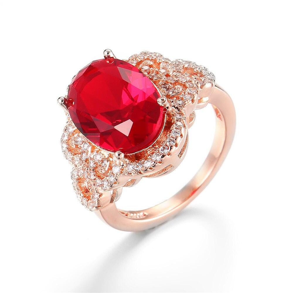 14K Rose Gold Ruby Peridot Diamond Ring Engagement Anillos De Jewelry Gemstone Bizuteria Rings for Women Natural Diamante 2019