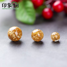 10pc Resin Gold Foil 6/8/10mm Loose Bead Pick Size Transparent Fit Necklace Bracelet Handmade Jewelry Making 2708