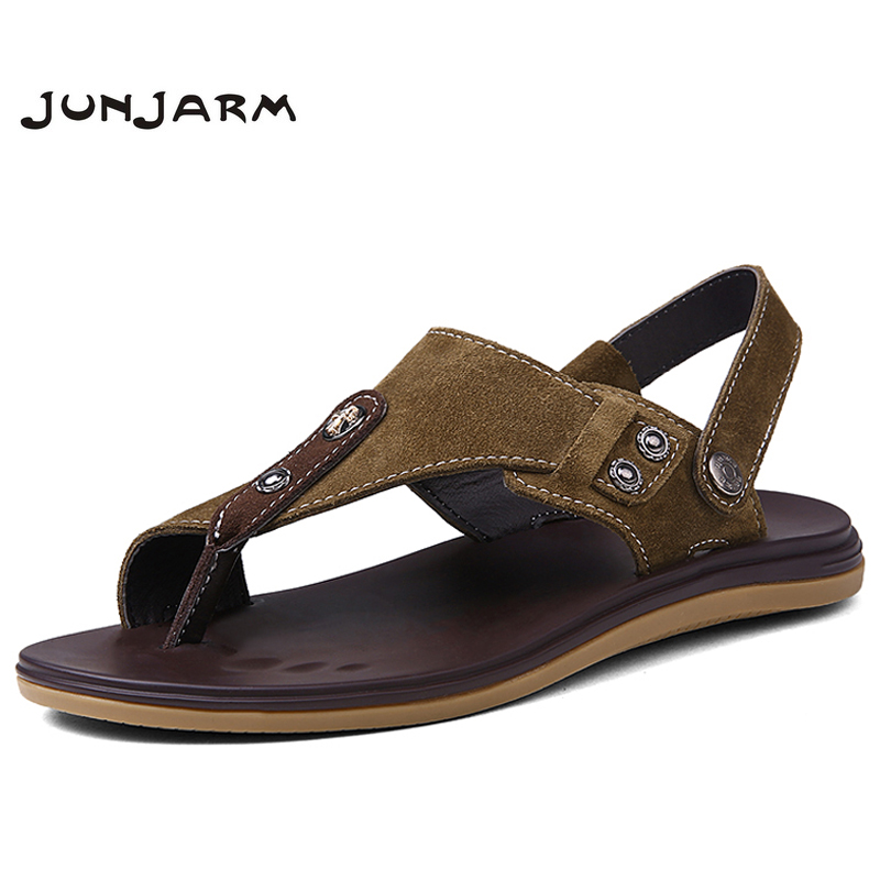 JUNJARM 2018 Men Fashion Sandals Summer Mens Slippers Genuine Leather Shoes Beach Casual Breathable Flip-Flops Zapatos 38-46