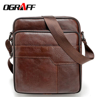 OGRAFF Men Messenger Bags Genuine Leather Bag Casual Small Business Vintage Luxury Handbag Designer Shoulder Crossbody