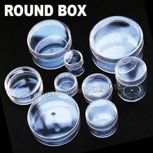 Many Sizes Clear Round Box Plastic case for Organizer DIY Tool Nail Art Jewelry Accessory beads stones Crafts container Storage