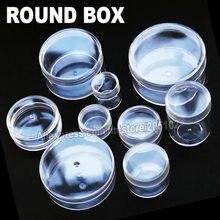 Viele Größen Klar Runde Box Kunststoff fall für Veranstalter DIY Werkzeug Nail art Schmuck Zubehör perlen steine Handwerk container Lagerung