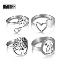 MixMax 50pcs Mix Styles Top Womens Stainless Steel Rings Finger Band Ring Party Jewelry Wholesale Lot