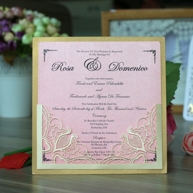gold laser cut wedding invitations romantic lace invitation with