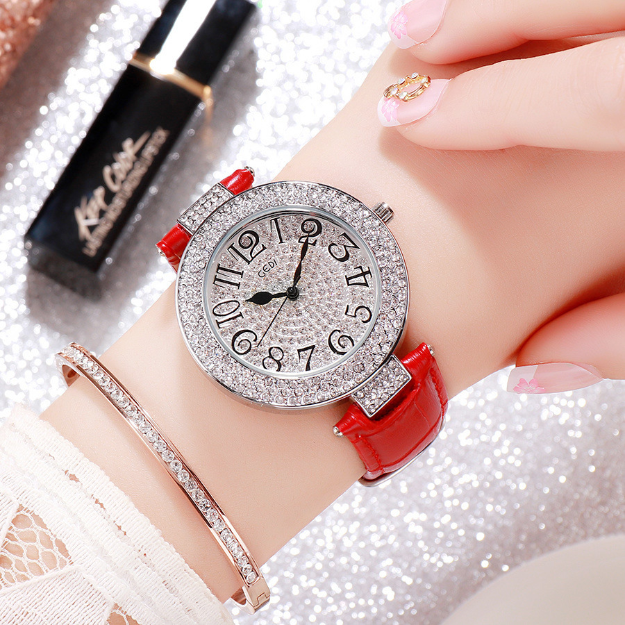 Luxury Fashion Lady Rea Leather Quartz Watch Diamond Women Wrist Watch Leisure Female Dress Watch Horloges Relogio Feminino Klok