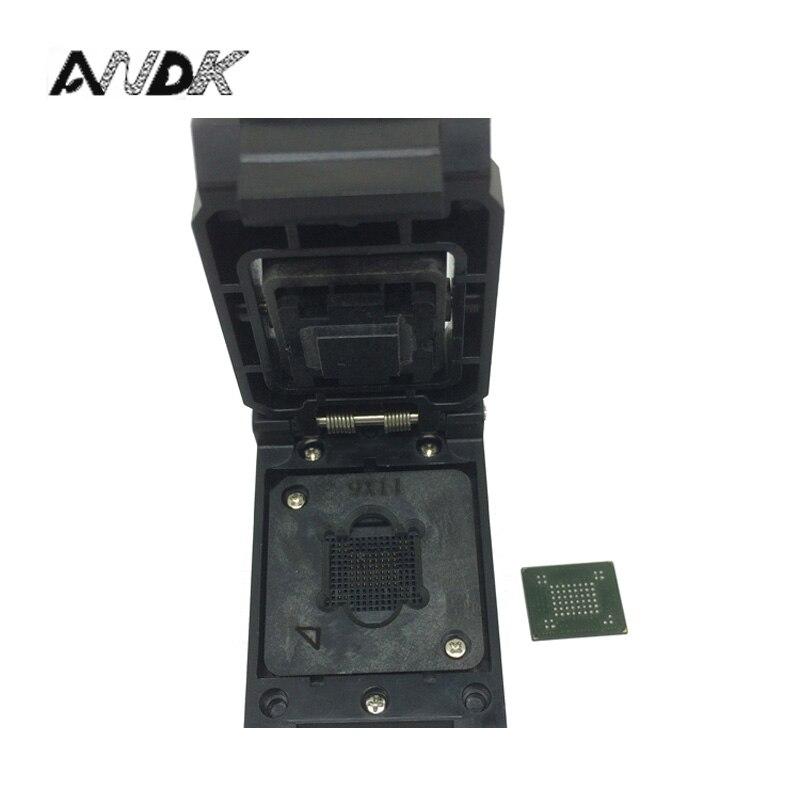 VFBGA63 BGA63 Burn in Prova Presa Presa Pin Passo 0.8mm IC Corpo Dimensioni 9x11mm Programmer Adapter Presa di masterizzazione