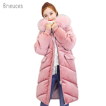 Brieuces 2018 wadded jacket female new winter jacket women down cotton jacket long parkas velvet ladies winter coat women