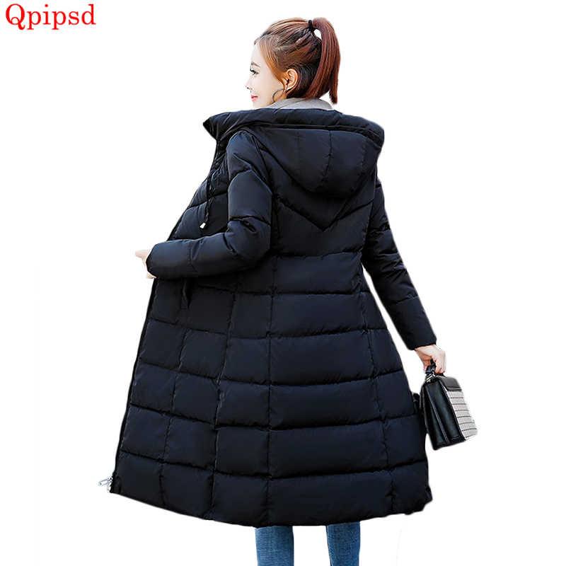 Большие размеры 6XL пуховики 2018 модное женское зимнее пальто длинное тонкое утепленное пуховое хлопковое Стеганое пальто Верхняя одежда парки