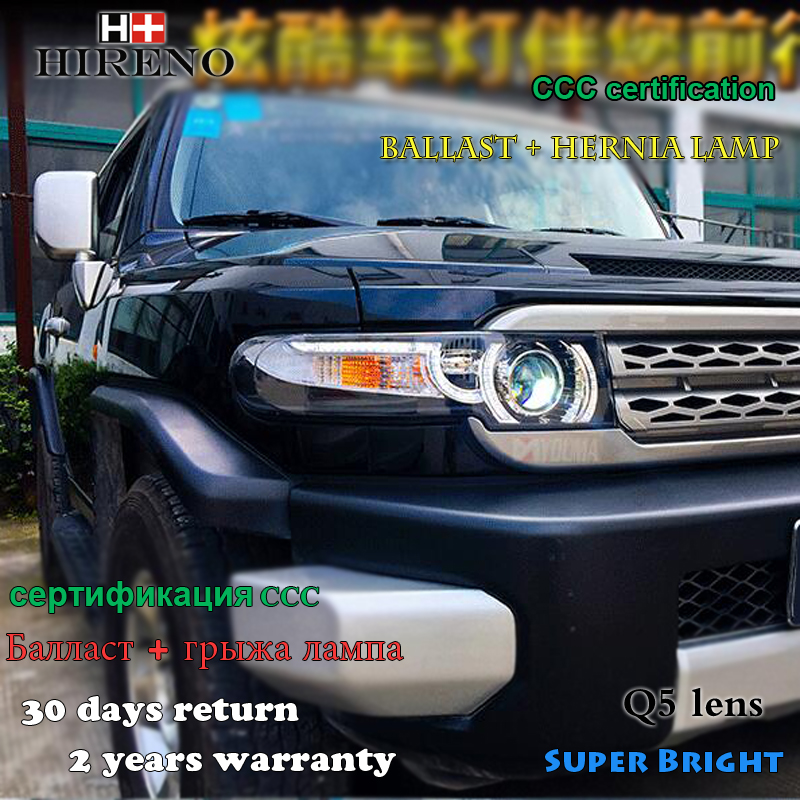 Hireno Headlamp for 2006-2015 Toyota FJ Cruiser FJ150 Headlight Assembly LED DRL Angel Lens Double Beam HID Xenon 2pcs hireno headlamp for cadillac xt5 2016 2018 headlight headlight assembly led drl angel lens double beam hid xenon 2pcs