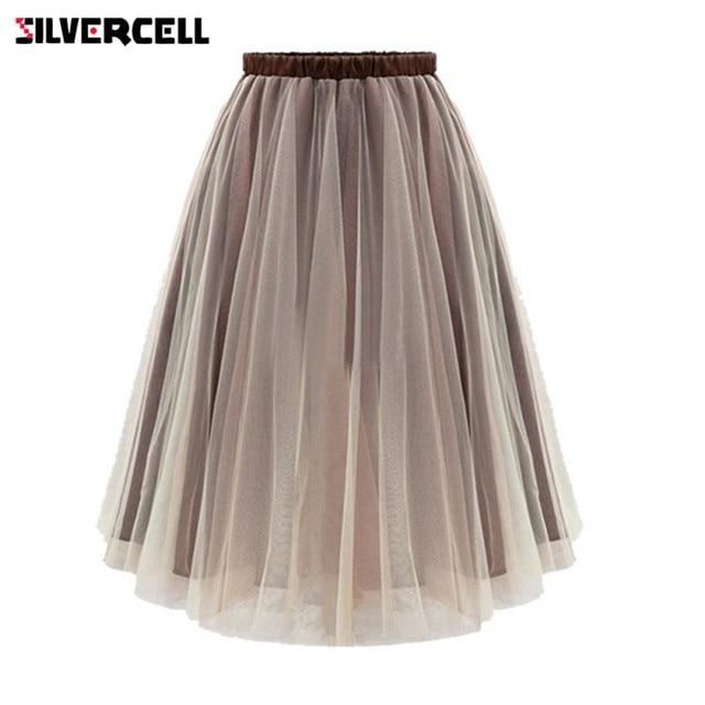 c311948cb2 SILVERCELLAutumn Summer Style Women Midi Skirts Long Tulle Skirt Pleated  Adult tutu Plus Size Mesh Skirt