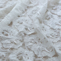 2Yard 130cm Embroidered Cord Lace Fabric For Wedding Dress 3d Embroidery Lace Guipure Tulle Paillettes Fabrics