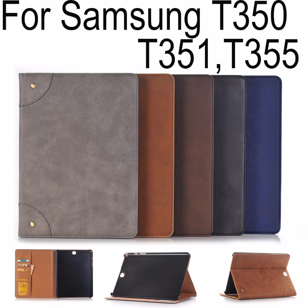 For Samsung Galaxy Tab A 8.0 T350 T351 SM-T355 Hard PC+PU Leather wallet card slot Stand Case Cover Tablet protective skin+Gifts it baggage hard case чехол для samsung galaxy tab a 8 0 sm t350n sm t355n black