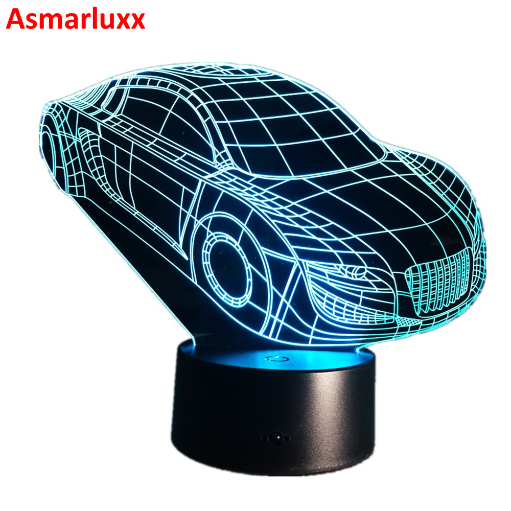 Motor Sports Cool Car Automobile Shape 3D Deco Light USB Charge Touch Switch Lamp Colorful Night Light for Sports Guy's Gift