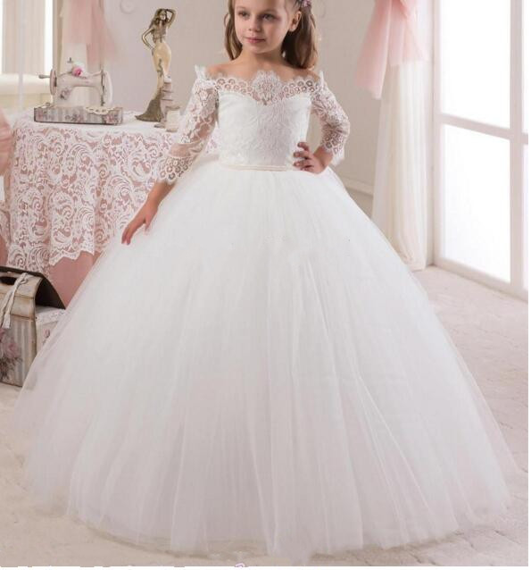 Princess Vintage 2017 White Flower Girl Dresses Long Sleeves Off Shoulder Girls Pageant Birthday Dresses First Communion Gown