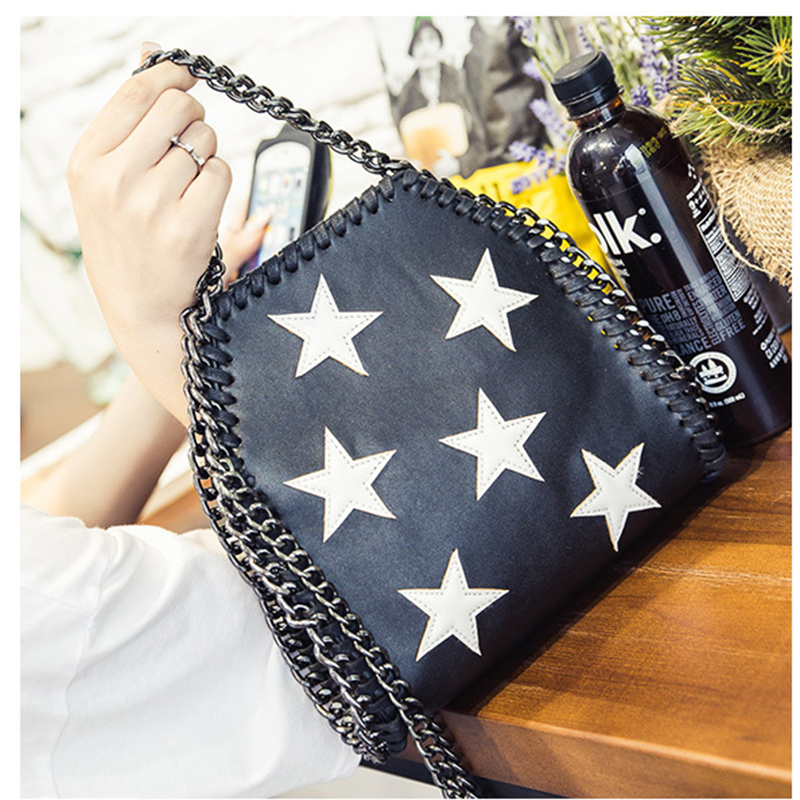2017 Women Party Shoulder Bag PU Brand chain Clutch bag With 3 Chains Evening So