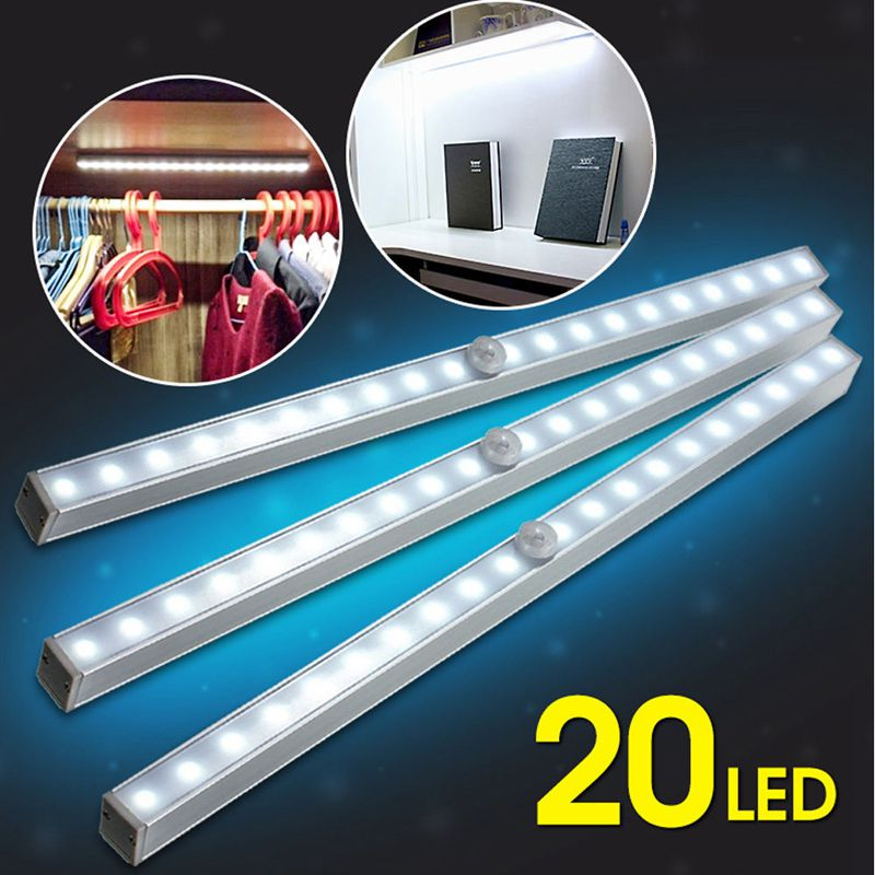 1Pc 20leds Motion Sensor Night Light Magnet Stick-on Under Cabinet LED Night Light Lamp Battery with motion activated