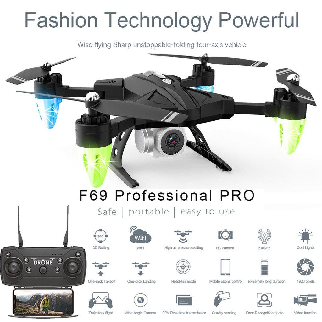 F69Pro 2.4G 5MP 1080P Wide Angle WIFI FPV HD Camera Foldable RC Drone Quadrocopt Toys 5.27-in RC Airplanes from Toys & Hobbies